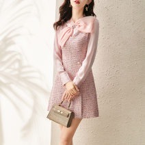 Dress Spring 2021 Black, pink S,M,L,XL Middle-skirt singleton  Long sleeves street V-neck High waist Solid color zipper A-line skirt routine Others 30-34 years old Type A Bow, tridimensional decoration, beads, buttons, zippers 31% (inclusive) - 50% (inclusive) Light tweed other Europe and America