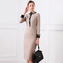 Dress Winter of 2019 Picture color UK4/XS,UK6/S,UK8/M,UK10/L,UK12/XL Middle-skirt singleton  Long sleeves street Polo collar High waist Solid color zipper One pace skirt routine 25-29 years old Type H 1 ONE CHIC Panel, button, zipper DMF1383 Europe and America