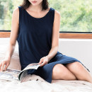 Pajamas / housewear set female Fimage / Youzhi L, M Navy, pink, heather grey viscose  Sleeveless Simplicity Leisure home summer routine Crew neck Solid color Socket youth 81% (inclusive) - 95% (inclusive) modal  longuette