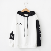 Sweater / sweater Autumn of 2018 M, L Long sleeves routine Socket singleton  routine Hood easy Sweet routine Cartoon animation 18-24 years old 96% and above cotton Splicing cotton Cotton liner college