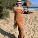 Dress Summer 2021 Picture color S,M,L longuette singleton  Sleeveless commute V-neck High waist Solid color One pace skirt Oblique shoulder 18-24 years old Type H Korean version cotton