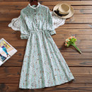 Dress Autumn 2020 Sky blue, pink M,L,XL,2XL Mid length dress singleton  Long sleeves Sweet stand collar Elastic waist Decor Socket other other Others Type A 51% (inclusive) - 70% (inclusive) corduroy Mori