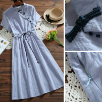 Dress Summer 2021 blue M,L,XL Mid length dress singleton  Short sleeve commute stand collar Elastic waist Solid color Socket other other Others Type A literature Lace up, button 51% (inclusive) - 70% (inclusive) other hemp