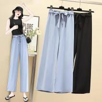 Casual pants Summer 2021 trousers Straight pants High waist commute routine 30-34 years old 91% (inclusive) - 95% (inclusive) ITbuy+ other lady Bandage polyester fiber L,XL,2XL,3XL,4XL Black, blue