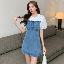 Dress Summer 2021 blue S,M,L Short skirt singleton  Short sleeve commute Crew neck High waist Solid color Socket A-line skirt puff sleeve Others 18-24 years old Type A Korean version Fungus, splicing 03040# 51% (inclusive) - 70% (inclusive) Denim other