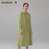 Dress Spring 2021 Y04 fragrant pear flower, o84 brown coffee flower XS,S,M,L,XL longuette Two piece set Long sleeves commute other Loose waist Single breasted other shirt sleeve 25-29 years old Type H Broadcast / broadcast literature printing BDN3LD217 More than 95% Chiffon polyester fiber
