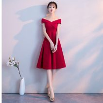 Dress / evening wear Wedding, adulthood, party, company annual meeting, performance, routine, appointment XXL,S,M,L,XL Red, black grace Medium length middle-waisted Summer 2021 Skirt Princess One shoulder zipper cotton 18-25 years old Sleeveless Solid color other Cotton 71% - 80%