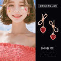 Ear Studs Silver ornaments 51-100 yuan Other / other Bow Love Earrings (silver needle) brand new Japan and South Korea female goods in stock Fresh out of the oven Gold Plated inlaid artificial gem / semi gem Love / water drop / bell 925 Silver