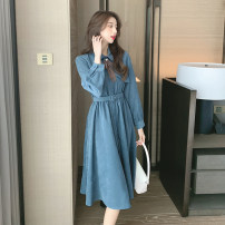 shirt Blue, skin pink S,M,L,XL Spring 2021 other 31% (inclusive) - 50% (inclusive) Long sleeves commute Medium length Polo collar routine Self cultivation Korean version Lace up, button, tridimensional decoration