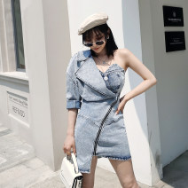 Dress Summer 2020 blue S,M,L Short skirt Fake two pieces street Slant collar High waist Solid color zipper Irregular skirt other Breast wrapping 18-24 years old Type X Open back, stitching, asymmetric, zipper 81% (inclusive) - 90% (inclusive) Denim cotton Europe and America