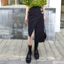 skirt Spring 2021 M, L black Mid length dress street High waist Irregular Solid color Type A 25-29 years old 81% (inclusive) - 90% (inclusive) other cotton Sticking cloth, asymmetry, chain, splicing Europe and America