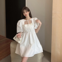 Dress Summer 2021 White, black S, M Short skirt singleton  Short sleeve commute square neck High waist Solid color other A-line skirt puff sleeve 18-24 years old Type A Korean version Frenulum 3.31A