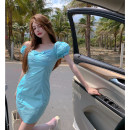 Dress Summer 2021 Blue dress S,M,L Short skirt singleton  Short sleeve commute V-neck Solid color puff sleeve 18-24 years old Type A Korean version bow 4.11C