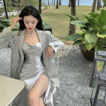 Dress Summer 2021 Mint Green sling, champagne sling, mint green suit, champagne suit S. M, average size Mid length dress Two piece set Sleeveless commute High waist Solid color other camisole 18-24 years old Korean version 4.10A