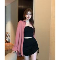 Fashion suit Summer 2021 Average size Black suspender, khaki suspender, black skirt, Khaki Skirt 18-25 years old 4.9C