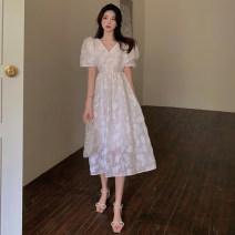 Dress Summer 2021 Picture color Average size Mid length dress singleton  Short sleeve commute V-neck High waist Broken flowers other A-line skirt puff sleeve 18-24 years old Type A Korean version Lace four . 8A