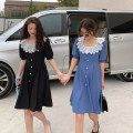 Dress Summer 2021 Blue, black Average size Middle-skirt singleton  Short sleeve commute square neck High waist A-line skirt puff sleeve 18-24 years old Type A Korean version Button, button 4.15C
