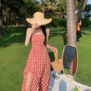 Dress Summer 2021 Red, black S,M,L longuette singleton  Sleeveless commute square neck High waist houndstooth  Irregular skirt camisole 18-24 years old Type A Korean version backless 4.12C