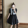 Dress Summer 2021 Picture color S, M Middle-skirt Fake two pieces Short sleeve commute Crew neck High waist other A-line skirt puff sleeve 18-24 years old Type A Retro Splicing 4.5A