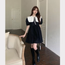 Dress Summer 2021 Black dress, white shawl Average size Middle-skirt Two piece set Short sleeve commute Crew neck Loose waist Solid color A-line skirt puff sleeve 18-24 years old Type A Korean version Frenulum 4.12C
