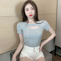 T-shirt Gray, white, black S,M,L Summer 2021 Short sleeve Crew neck Self cultivation have cash less than that is registered in the accounts routine commute other 30% and below 18-24 years old Korean version youth Solid color 4.12C Hollowing out