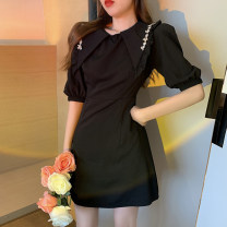 Dress Summer 2021 black S, M Short skirt singleton  Short sleeve commute other High waist Solid color A-line skirt puff sleeve 18-24 years old Type A Retro 4.10A