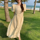 Dress Summer 2021 Apricot, white Average size Mid length dress singleton  Short sleeve commute Crew neck High waist Solid color A-line skirt puff sleeve 18-24 years old Type A Korean version four . 8B