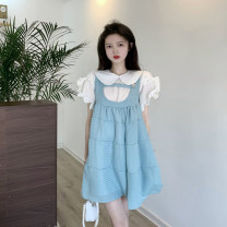 Dress Summer 2021 Shirt, suspender skirt S. M, average size Middle-skirt Fake two pieces Sleeveless commute Loose waist A-line skirt camisole 18-24 years old Type A Korean version Button 4.11C