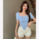 Wool knitwear Summer 2021 Average size White, pink, blue Short sleeve singleton  Socket other 30% and below have cash less than that is registered in the accounts routine commute Self cultivation routine Solid color Socket Korean version 4.15C 18-24 years old Stitching, lace