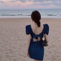 Dress Summer 2021 Dark denim Average size Short skirt singleton  Short sleeve commute square neck High waist Solid color A-line skirt puff sleeve 18-24 years old Type A Korean version 4.9B