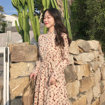 Dress Spring 2021 Floral Dress Average size Mid length dress singleton  Long sleeves commute stand collar High waist Broken flowers Single breasted A-line skirt pagoda sleeve 18-24 years old Type A Retro Ruffles, Auricularia auricula, buttons 2.21B