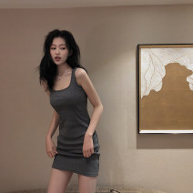Dress Spring 2021 Gray, black Average size Middle-skirt singleton  Sleeveless commute square neck High waist Solid color Socket A-line skirt other camisole 18-24 years old Type A Korean version 3.31A