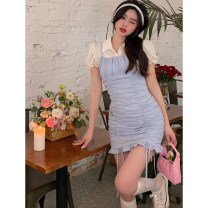 Dress Summer 2021 Cardigan, short sleeve shirt, pleated suspender skirt S. M, average size Short skirt Three piece set Sleeveless commute Solid color camisole 18-24 years old Type A Korean version Open back, fold 4.11C