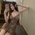 Dress Summer 2021 Leopard Print S,M,L Short skirt singleton  Sleeveless commute V-neck High waist Leopard Print A-line skirt camisole 18-24 years old Type A Korean version 4.12B