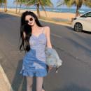 Dress Summer 2021 Blue, black S,M,L Short skirt singleton  Sleeveless commute V-neck High waist Broken flowers other A-line skirt other 18-24 years old Type A Retro 3.30A