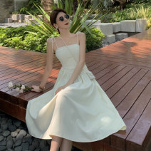 Dress Summer 2021 Apricot suspender skirt Average size Mid length dress singleton  Sleeveless commute One word collar High waist Solid color A-line skirt 18-24 years old Type A Korean version 4.12B