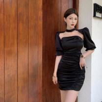 Dress Summer 2021 black S, M Short skirt Two piece set Short sleeve commute High waist Solid color A-line skirt puff sleeve 18-24 years old Type A Korean version four . 11B