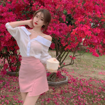 Fashion suit Summer 2021 S. M, average size White top, pink skirt 18-25 years old 4.10B