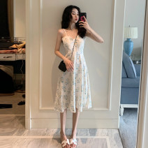 Dress Summer 2021 white S,M,L Miniskirt singleton  Sleeveless commute High waist Broken flowers Socket A-line skirt camisole 18-24 years old Type A Korean version 4.9B