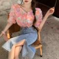 Fashion suit Summer 2021 S. M, l, average size Pink shirt, green shirt, split denim skirt 18-25 years old 4.15A