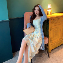 Dress Summer 2021 Blue yellow halo dyed suspender skirt, blue cardigan S. M, l, average size Mid length dress Two piece set Sleeveless commute V-neck other other Irregular skirt camisole 18-24 years old Type A Ruffles, open back, folds 4.7C