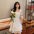 Dress Summer 2021 White, green S,M,L Short skirt singleton  Short sleeve commute square neck High waist Solid color A-line skirt puff sleeve 18-24 years old Type A Korean version Bow, fold 4.11C