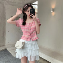 Fashion suit Summer 2021 S. M, average size Luo pollen top, white cake skirt 18-25 years old 4.5C