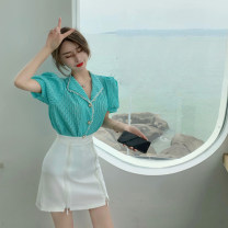 Fashion suit Summer 2021 S. M, average size White top, blue top, white skirt, black skirt 18-25 years old 4.14A