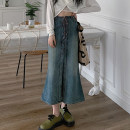 skirt Summer 2021 S,M,L Graph color Mid length dress Versatile High waist Denim skirt Solid color Type A 18-24 years old 4.14B