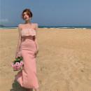 Dress Summer 2021 Pink S, M Mid length dress singleton  Sleeveless commute One word collar High waist Solid color Socket A-line skirt 18-24 years old Type H Korean version 4.9B