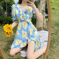 Dress Summer 2021 blue S,M,L Middle-skirt singleton  Short sleeve commute V-neck High waist Decor A-line skirt puff sleeve 25-29 years old Type A Korean version Lotus leaf edge 4.12C