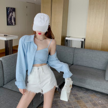 Vest sling Summer 2021 Pink two-piece set, blue two-piece set Average size Two piece set have cash less than that is registered in the accounts Self cultivation commute camisole Solid color 18-24 years old 4.4C backless