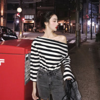 T-shirt Stripe color Average size Summer of 2018 Long sleeves One word collar easy Regular pagoda sleeve commute other 30% and below 18-24 years old Korean version youth Thick horizontal stripe color matching 7.26A backless