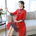 Dress Summer of 2019 Dark blue, red M,L,XL,2XL,3XL longuette Fake two pieces three quarter sleeve commute stand collar middle-waisted Single breasted Irregular skirt other Hanging neck style 35-39 years old Type A Other / other Retro Stitching, buttons, print 71% (inclusive) - 80% (inclusive) Chiffon